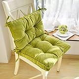 SWECOMZE Sitzkissen mit Rücken,Gartenstuhl Polster Sitzkissen,Niedriglehner Auflage Stuhlauflage für Niederlehner Stuhlauflage Sitzpolster Garten (Grün)