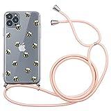 Yoedge Funda con Cuerda para OPPO A37-5,0', Funda de Silicona AntiChoque Suave TPU para Teléfono Móvil con Colgante Ajustable Collar Correa para el Cuello Cadena Cuerda, Abeja