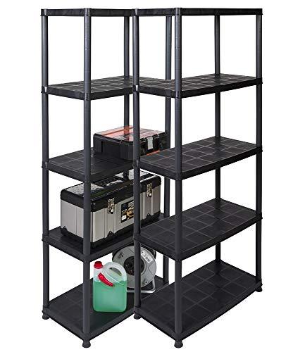 2 Stück Kunststoff Steckregale mit 5 soliden Böden, belastbar mit bis zu 30 kg/Boden. Maße BxTxH in cm pro Regal: 71 x 38 x 171 cm