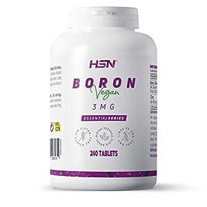 Boro de HSN | 3mg | Alta biodisponibilidad en forma de Borato Sódico | Oligoelemento Esencial | Con Zinc | No-GMO, Vegano, Sin Lactosa | 240 Tabletas