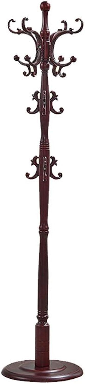 CL Solid Wood Coat Rack Floor Hanger Bedroom Foyer Home Office Clothes Rack Wood European Coat Rack Wine Red Coat Rack