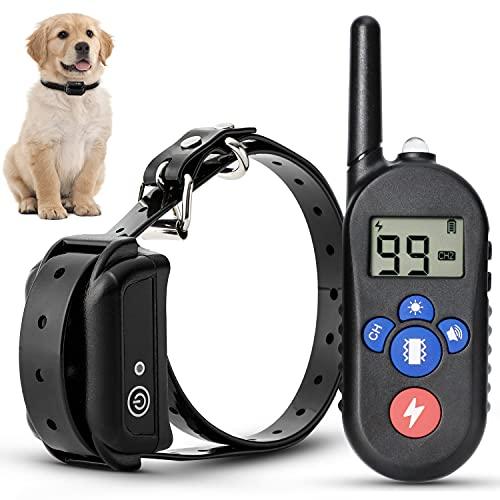 Collar de Adiestramiento Perros con 4 Modo de Sonido, Vibración, Luz y Descarga Eléctrica, Recargable y Resistencia al Agua de IP7 con 99 Niveles Estáticos Ajustables & Un Alcance de 300m