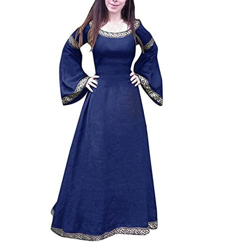 Dasongff Vestido ajustado para mujer, vintage, monocolor, línea A, vestido rockabilly, retro, cuello redondo, manga larga, vestido de fiesta, medieval, gótico, para bodas, carnaval, carnaval, cóctel