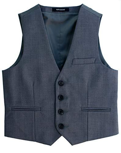 Ruth&Boaz Big Boy's 3Pockets 4Button Business Suit Vest (14, Gray)