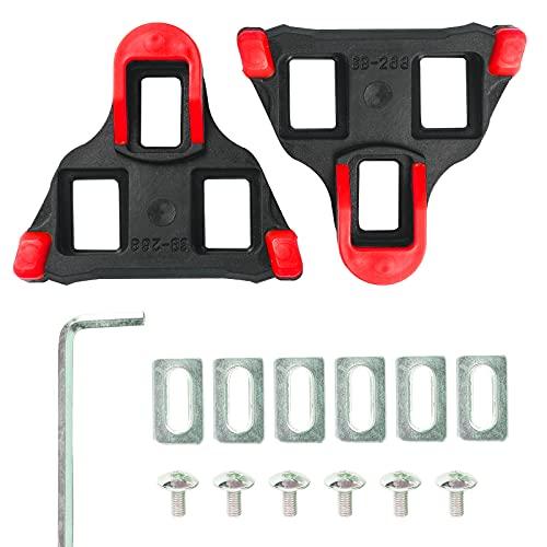 Pedales de Bicicleta Cleat para Zapatos de Sistema SPD-SL -6 Grados Flotador para Interior al Aire Libre Bicicleta de Carretera Conjunto de Tacos de Ciclismo Equipo (Rojo/Amarillo) (Amarillo)… (Red)