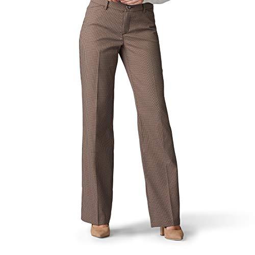 Lee Women's Flex Motion Regular Fit Trouser Pant, deep Breen Austin Check, 16