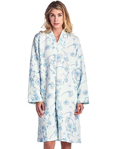Casual Nights Gesteppter Damen-Bademantel mit Blumenmuster und Reißverschluss vorne Gr. 46, blau/grün geblümt - kurz