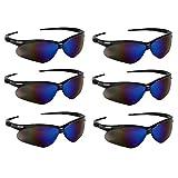 KLEENGUARD (Formerly Jackson Safety V30 Nemesis Safety Glasses/Sunglasses 14481 Black Frame, Blue Mirror Lens (6 Pair)