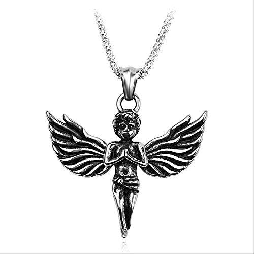 DUEJJH Co.,ltd Halskette Mode Retro Edelstahl Kette Halskette Schöne Little Angel Glamour Anhänger Halskette Rock Hip Hop Männer Frauen Schmuck Geschenk