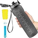 Leytn Botella Agua Deportes 1000ML, Botella de Agua Tritan Sin BPA Reutilizable con Filtro y Cepillo de Limpieza Marcador de Tiempo Botellas para Niños, Gimnasio, Yoga, Bicicletas - Gris
