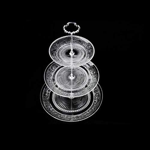 Dreistufige Obstschale/Kristallglas Süßigkeiten Schale/Home Wohnzimmer Kuchen Snack Tablett GBYGDQ (Color : Silver)