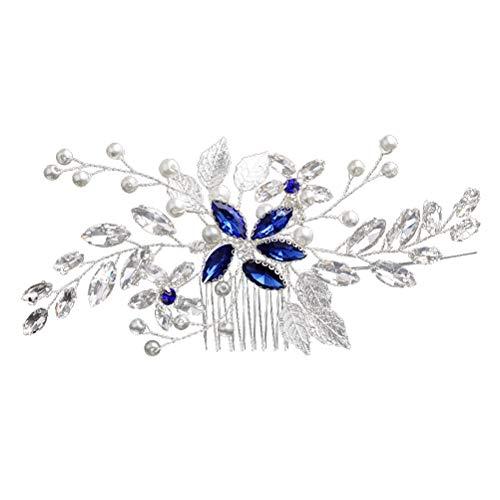 Lurrose Peine nupcial del pelo Plata flores de cristal perlas peines decorativos...