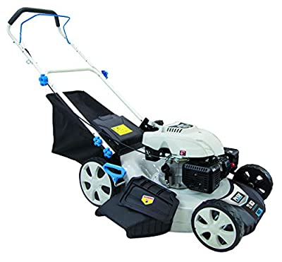 """Pulsar PTG1221 21"""" 173cc Gasoline Powered Walk Behind Push Mower with 7 Position Height Adjustment, White"""
