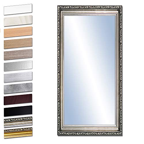Bilderdepot24 Wandspiegel Spiegel Badspiegel Holzrahmen komplett mit Echtglas - Silber Antik - ca....