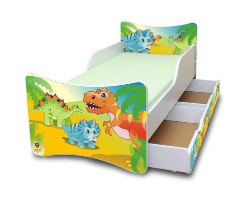 Best For Kids Kinderbett mit Schaummatratze mit TÜV Zertifiziert 90x200 MIT Zwei SCHUBLADEN 25 Designs (**Kinder**, Dinosaurier)