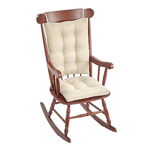 The Gripper Non-Slip Omega Jumbo Rocking Chair Cushions, 17' x 17', Ivory