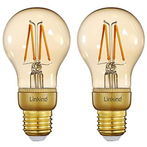 Linkind Pack de 2 bombillas LED inteligentes regulables Edison, 2200 K, blanco cálido Zigbee, vintage, 4,2 W, 420 lm, iluminación retro, requiere puente/hub, compatible con Alexa