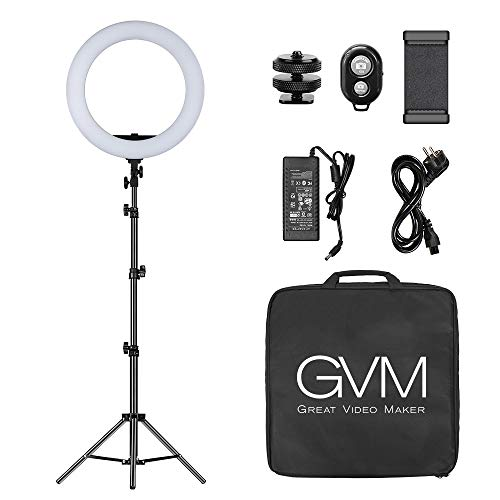 GVM LED Ringlicht, 55W LED Ringleuchte mit stativ, LED Lichtring für Fotografie Dimmbar 3200-5600K LED Ring für Titok Vlog YouTube Porträt, Vlog,Selfie Video Fotografie Beleuchtung