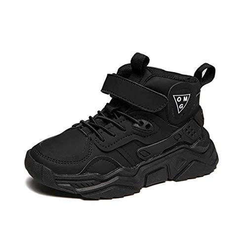 Kinder High Top Sneaker Herbst und Winter bequem Leder rutschfest Plus samt weichen Boden Sneakers leichte Laufschuhe große Größe Studentenschuhe