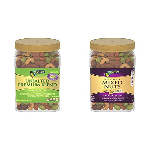 PLANTERS Unsalted Premium Nuts, 34.5 oz. Resealable Container - Contains Roasted California Pistachios, Cashews, Almonds, Hazelnuts & Pecans & Deluxe Salted Mixed Nuts, 34 oz. Resealable Canister