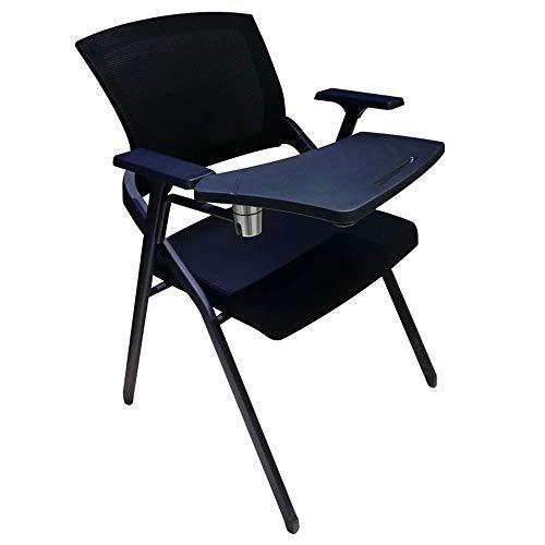 Bürostuhl Sitz Folding Konferenzstuhl mit Rollen Folding Writing Board Ausbildung Stuhl Bürostuhl Schul Unternehmen mit Lendenwirbelstütze (Color : Black, Size : 60 x 50 x 87cm)