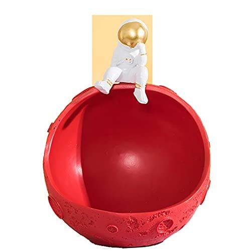 DUNAKE Bols Clé Résine,Statue De l'homme Spatial,ature Statues de Salon décoration,Bols Keys,Figurines de Stockage d'astronaute Statuette de Cosmonaute(Gris) (Color : Red)
