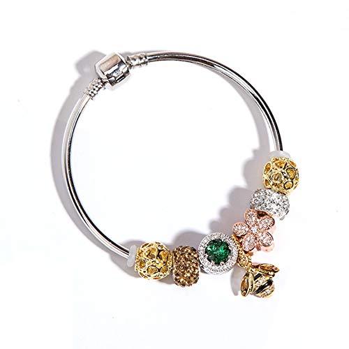 Pulsera con Cuentas, Colgante De Abeja De Oro Rosa, Pulseras De Cristal Simples De Todo Fósforo, Joyas para La Salud De Fortune