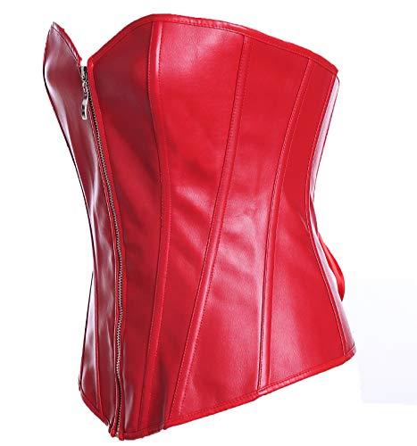 YANGLIXIA Traisor de Cintura cors de Las Mujeres Steampunk Cuerpo Corss Corss Shapewear Disfraz Deshuesado Slim Chaleco Red-XL