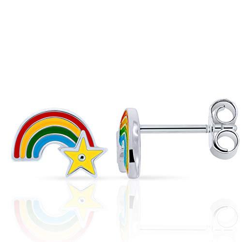 PLANETYS – Pendientes para niño, diseño de arco de cielo y estrellas, plata 925/1000 y esmalte