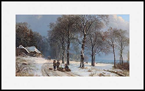 Könighaus Infrarotheizung – Kunstwerke/Gemälde mit Passepartout – TÜV/GS - 800 Watt - Schwarzer Rahmen (05. Barend Cornelis Koekkoek_ Winter Landscape)