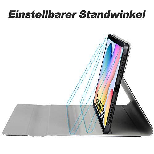 IVSO Tastatur Kompatibel mit Samsung Galaxy Tab S6 Lite, mit Panzerglas, [QWERTZ Deutsches], Abnehmbar Beleuchtete Tastatur Hülle Kompatibel mit Samsung Galaxy Tab S6 Lite 10.4 Zoll, Schwarz