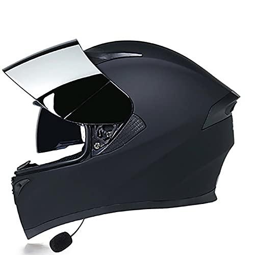 YLXD Casco Moto Bluetooth Integrado Cascos de Moto Scooter con Doble Anti Niebla Visera Casco Integral ECE Homologado para Mujer Hombre Adultos Cuatro Estaciones G,XXL