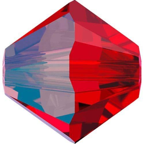 48pcs Light Siam Shimmer 227shim Xilion Bicono Cristalli di Vetro Rosso 5328 Perlina Sfaccettata Strass 3mm