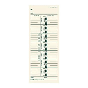 TOPS Time Cards Weekly 1-Sided 3-1/2  x 9  Manila Green Print 500-Count  1259