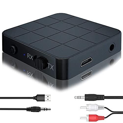 Transmisor y Receptor Bluetooth 5.0 Mini Adaptador USB 2 en 1 Manos Libre con Micrófono Incorporado diseñado Compacto para Coche, TV, CD Reproductor, Sistema estéreo doméstico, Altavoz, Auriculares