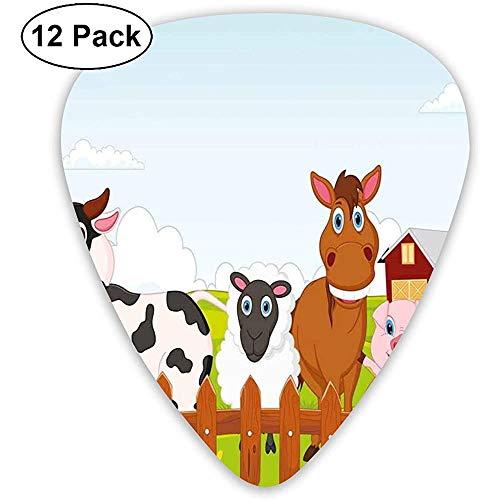 Criaturas de granja lindas con caballo de vaca cabra, cerdo y pollo por The Fences Kids Cartoon (paquete de 12)