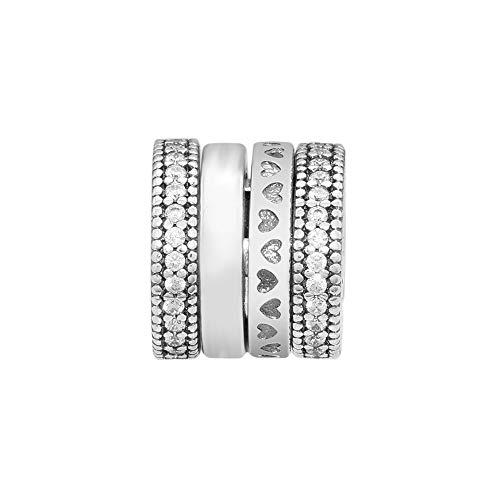 Se Adapta A La Pulsera Pandora Argent Charm Plata De Ley 925 Auténtica Spinning Cuori Clear Charms Beads para DIY Women Jewelry Making