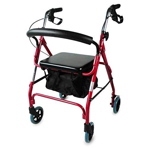 Mobiclinic, Sinagoga, Rollator, Gehwagen für Senioren, Gehhilfe für Behinderte, Faltbare Gehhilfe, Höhenverstellbar, Stoffkorb, Rückenlehne und Sitz, Leichtgewicht, Rot