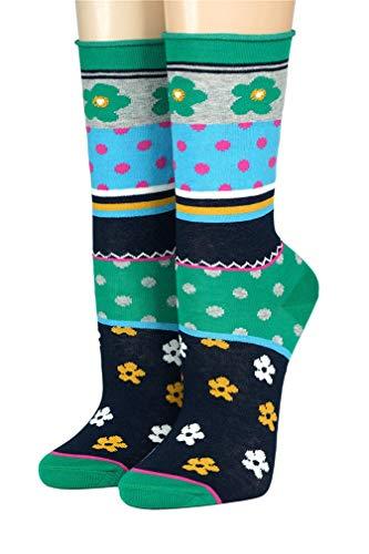 CRÖNERT Socken Longsocks mit Rollrand Design Pippilotta 18703 (39/42, grün 2024)