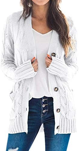 Goranbon Womens Cable Knit Cardigan Long Sleeve Open Front Button Down Knitwear Sweater Coat
