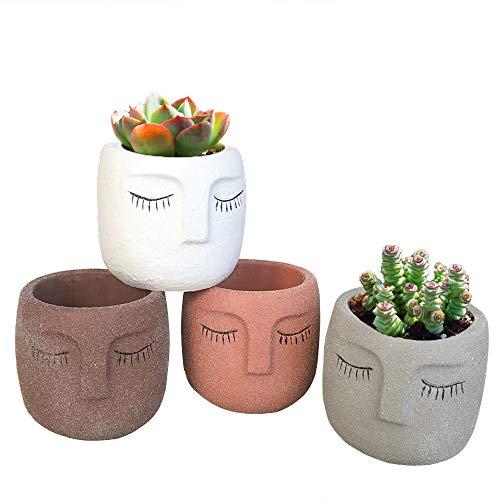 Cement Head Planter Small Cement Pot Face Vase Cement Planter with Face Statue Plant Pot Concrete Flower Pot Succulen Planter 3inch Set of 4