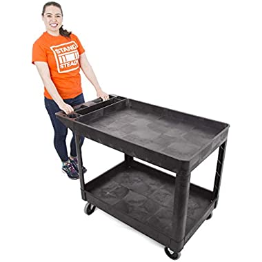 Original Tubstr Extra Large Utility Cart - Heavy Duty Tub Cart Holds up to 500 Pounds - 2 Shelf, Huge Rolling Cart - Great for Warehouse, Garage and More (45.5 x 24.5 / Black)