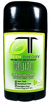 Green Theory - Mojito - Baking Soda Free Natural Deodorant   Aluminum Free Probiotic Senstive Skin Magnesium Hydroxide Zinc Oxide   Solid 2.65 Ounces