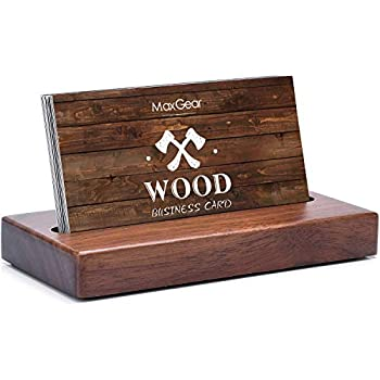 MaxGear Business Card Holder for Desk Wood Business Card Display Holders Professional Business Card Holder Stand Desk Cards Display Holder for Home and Office 2.3 x 4.3 x 0.6 inches Walnut Square