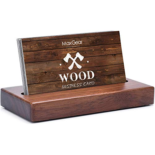 MaxGear Business Card Holder for Desk Wood Business Card Display Holders Professional Business Card Holder Stand Desk Cards Display Holder for Home and Office, 2.3 x 4.3 x 0.6 inches, Walnut, Square