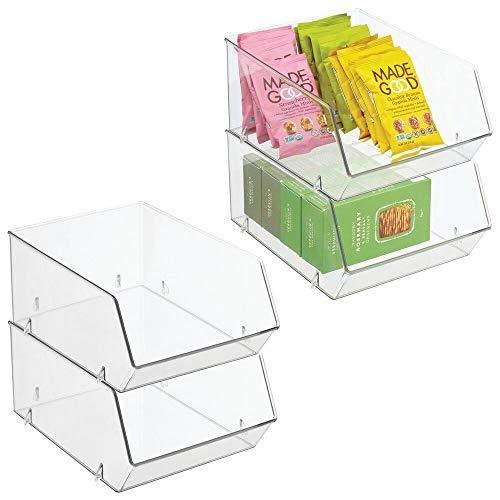 mDesign Kühlschrankbox für Lebensmittel – Küchen Ablage mit offener Vorderseite für Kühlschrank, Schrankfach oder Gefriertruhe – Aufbewahrungsbox aus BPA-freiem Kunststoff – 4er-Set – durchsichtig