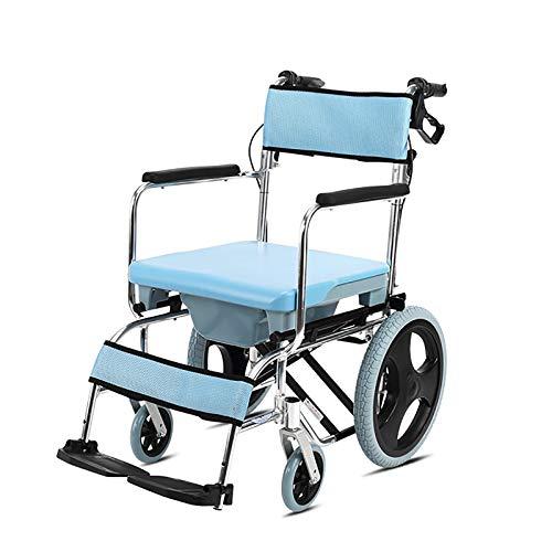 AYG Silla Azul autopropulsada con Inodoro de Ducha con Ruedas, Inodoro con Ruedas/Silla para Inodoro, para discapacitados, discapacitados, Ancianos