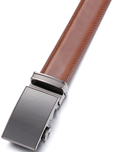 Marino Men's Genuine Leather Ratchet Dress Belt With Automatic Buckle, Enclosed in an Elegant Gift Box – Radiant Ore – Burnt Umber – Adjustable from 28″ to 44″ Waist