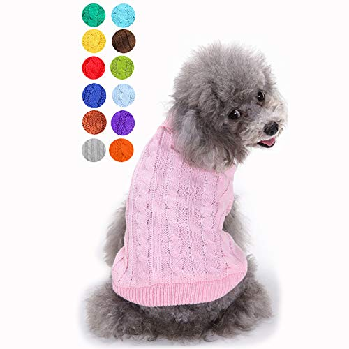 Small Dog Sweater, Warm Pet Sweater, Cute Knitted Classic Dog Sweaters for Small Dogs Girls Boys, Cat Sweater Dog Sweatshirt Clothes Coat Apparel for Small Dog Puppy Kitten Cat (Small, Pink)
