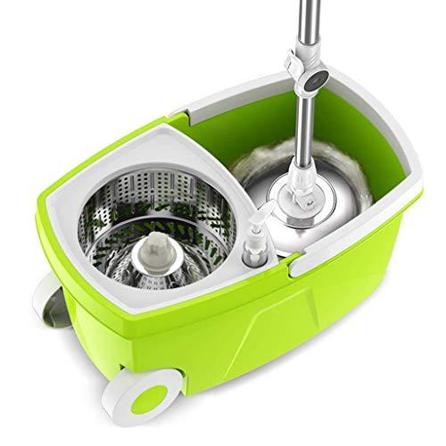 TTJN Spin Mop Bucket System - Mopa giratoria de acero inoxidable 360 con mango de prensado fácil extendido y 3 cabezales de fregona de microfibra, cubo con ruedas y canasta para secadora Easy Wring